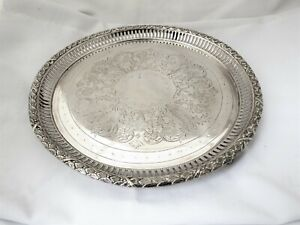 ORNATE VICTORIAN SILVER PLATED SALVER / TRAY BY JOHN ROUND 9 1/2 INCHES