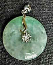 "Jadeite Open Circle 1"" Sterling Silver Pendant Flower Cubic Zirconia Burmese"