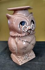 Twin Winton Ceramic Wise Owl Cookie Jar, Cap & Glasses ~ Very Good Vintage Cond
