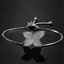 925 Sterling Silver Women's CZ Butterfly Adjustable  Bolo Bracelet