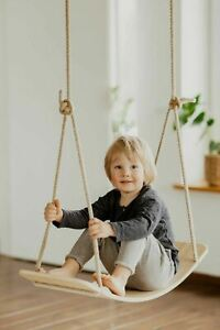Kids indoor outdoor wood Swing and Balance board combo-Hand Crafted Birch wood
