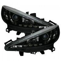 Peugeot 207 (2006-2013) Black Halo Angel Eye Projector Front Headlights Lights