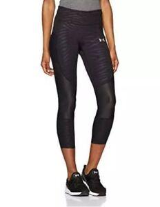 Under Armour Speedpocket Run Printed Womens Running 3/4 Capri Tights - Black S