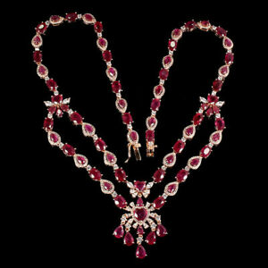 NATURAL 49.65 Ct MOZAMBIQUE RUBY NECKLACE 14k ROSE GOLD/925 STERLING SILVER