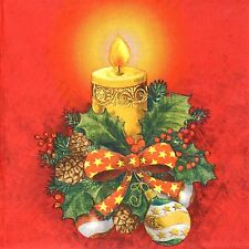 4x Paper Napkins for Decoupage Decopatch Craft Christmas Decor Gold Candle