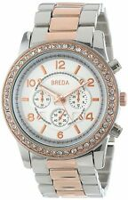 NEW Breda 2326-TT Rose Gold Women's Jordan Rhinestone-Accented Large Dial Watch