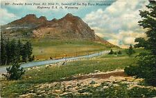 Linen Postcard; Powder River Pass 9666 ft. Summit Bighorn Mountains US Hwy 16 WY