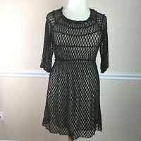 Umgee Womens Dress Black Lace Overlay Sheath 3/4 Sleeve Stretch Size XL