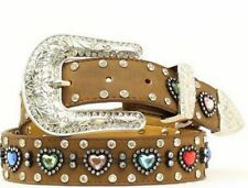Nocona Western Belt Girls Rhinestones Heart Aged Bark N4426844