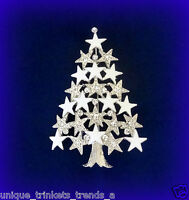 CLEAR SNOW WHITE CHRISTMAS STAR TREE RHINESTONE ENAMEL GIFT PIN BROOCH
