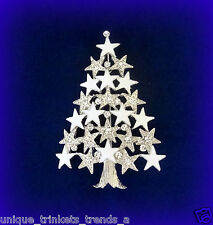 VTG STYLE CLEAR SNOW WHITE CHRISTMAS STAR TREE RHINESTONE ENAMEL GIFT PIN BROOCH