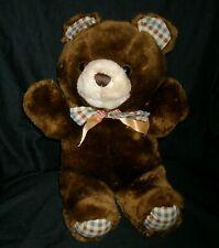 "15"" VINTAGE CUDDLE WIT TEDDY BEAR BROWN STUFFED ANIMAL PLUSH TOY TAN PLAID GREEN"