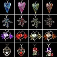 Fashion Women Crystal Heart Flower Pendant Necklace Sweater Chain Jewelry