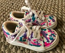 Toddler Girls White Leather Keds Shoes Size 5 Toddler Lace Up Splatter