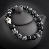 Bead 8mm Natural Fashion White spot stone Tibet silver Buddha lucky man bracelet