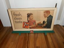 Vintage RARE 7up 7-up Soda Fresh Clean Taste Cardboard Advertising Sign w STAND