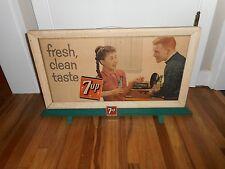Vintage RARE 7up 7-up Soda Fresh Clean Taste Cardboard Advertising Sign w STAND