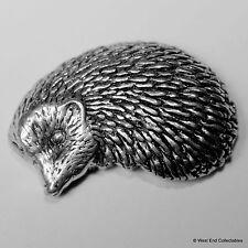 Hedgehog Pewter Brooch Pin - British Artisan Signed Badge - Echidna, Hérisson