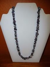 "Single Strand Stacked Bead Necklace 29"" Black, Gray, Lavender Beads"