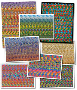 Set of 8 Hidden 3D Stereogram llusion Posters