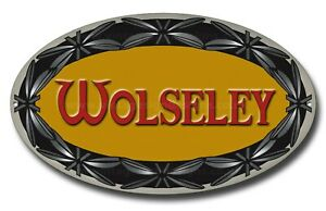 "WOLSELEY MOTORS MARQUE MACHINE CUT OVAL METAL SIGN.15.5"" X 9"" CLASSIC BRIT CARS."