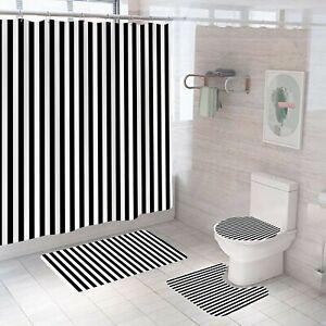 Striped Shower Curtain Bathroom Rug Set Thick Bath Mat Non-Slip Toilet Lid Cover