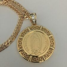 Our Lady of Guadalupe and Aztec Calendar Gold Plated Pendant and Necklace