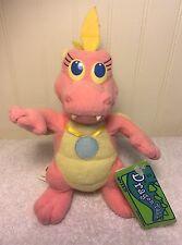 "Dragon tales Plush Cassie 8"" Stuffed Toy With Tags Pink Dragon Playskool Hasbro"