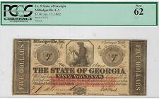 Ga-1 Cr-5 $5.00 Georgia Paper Money 1862 - Pcgs-C New 62!