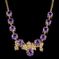 Collar de vid uva antigua victoriana Antique Victorian Amatista 18CT Oro En Plata Circa 1900