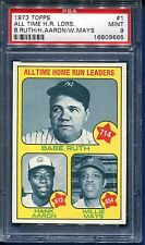 1973 TOPPS BASEBALL #1 ALL TIME HR LEADERS RUTH/AARON/MAYS PSA 9 MINT
