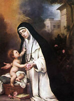 Nice Oil painting Bartolome Esteban Murillo - St. Rose of Lima with child canvas