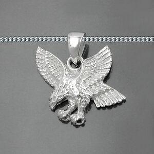 Männer fliegender Adler Greifvogel Anhänger mit Kette Echt Silber 925 für Biker