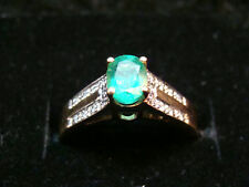 14k  Yellow Gold Genuine Emerald Diamond Ring #1113