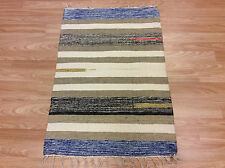 Striped Beige Cream Color Handloomed Cotton Rag RUG Durrie Mat 60x90cm 2x3 50%OF