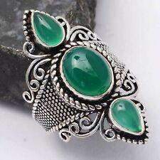 Green Onyx Ethnic Handmade Ring Jewelry US Size-8 AR 64379