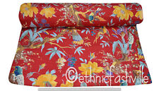 Indian Cotton 5 Yard Red Bird Paradise Craft Sewing Material Dressmaking Fabric