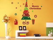 Joyeux noël arbre cadeau autocollants muraux/windows shop stickers uk RUI00