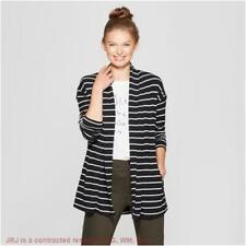 Women's Striped Open Knit Cardigan - A New Day Black/Cream M