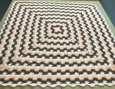 "Handmade NEW Crochet Afghan Brown/Peach Star Stitch 54""x54"" Throw blanket"