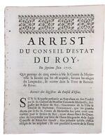 Rieux Minervois en 1717 Aude Languedoc M de la Jugie Comte de Merinville