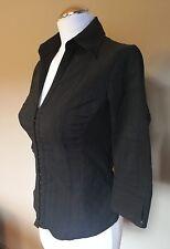 H&M Bluse stretch schwarz 3/4arm mit in sich Muster Gr.36