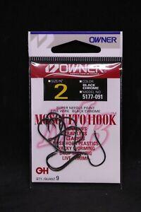 OWNER Mosquito Bait Hooks 5177-091 Size 2 - 9 pack Black Chrome Super Needle