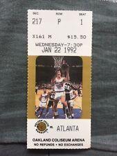 Sarunas Marciulionis - 1992 ATLANTA vs GOLDEN STATE WARRIORS Ticket - JAN 22nd