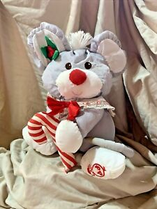 VINTAGE 1987 FISHER PRICE PUFFALUMPS GRAY PLUSH CHRISTMAS MOUSE ~#8016