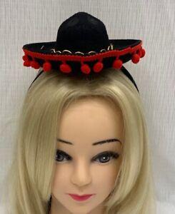 Mini Mexican Sombrero Hat on Headband Black Fancy Dress Fiesta Costume Spanish