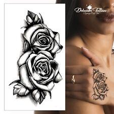 Twin Roses Temporary Tattoo - Black Shading 3D Waterproof Small Womens Mens Kids