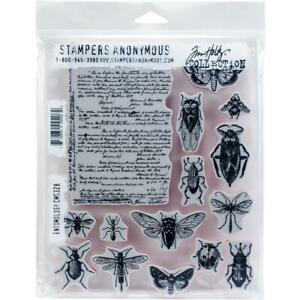 """Tim Holtz Stampers Anonymous """"ENTOMOLOGY"""" Insects Rubber Cling Stamp Set"""