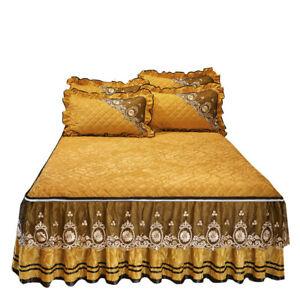 Qulited Lace Velvet Bed Skirt Dust Ruffle Full Queen Zippered Embossed Bedspread