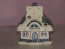 Collectible Polish Pottery Illuminated Cottage House Tea Light! Mila Pattern!